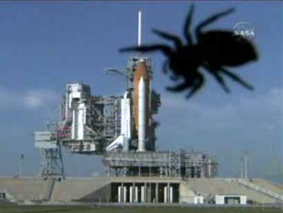 A NASA webcam at Launch Complex 39A captured this image of a giant spider ...
